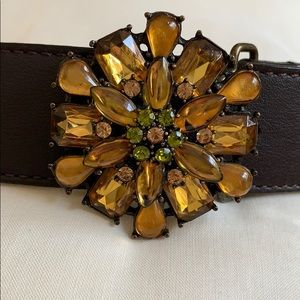 Brown Leather Talbots Belt with Jewel Buckle